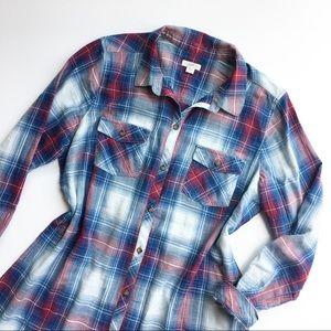 J. Jill Denim plaid button down tunic blouse